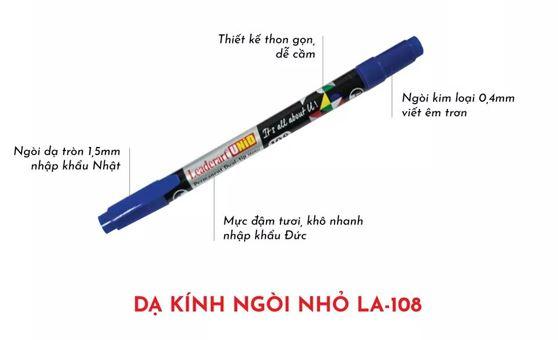 Bút lông dầu 2 đầu nhỏ UNID LA108-XANH   Bút các loại